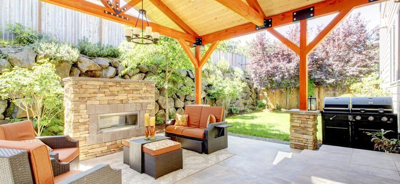Custom backyard kitchens and fireplaces